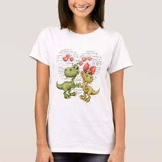 Funny Dinosaurs and text Design Valentine's Day Gift T-Shirts and sweatshirts. Matching Cards , postage stamps and other products available in the Holidays / Valentine's Day Category of the artofmairin store at zazzle.com