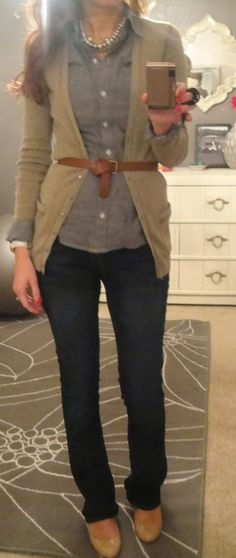 Fall Work Outfit With Plain Cardigan and Flat Shoes. I need a grey chambray shirt! ~cmr
