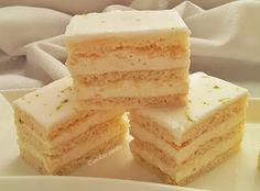 Lime-os szeletek Hungarian Recipes, Limes, Vanilla Cake, Food And Drink, Cooking Recipes, Cookies, Baking, Mascarpone, Recipes