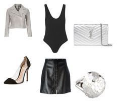 """""""Monotone Wednesday"""" by norajox-kim ❤ liked on Polyvore featuring Mimi So, Topshop, Magda Butrym, Gianvito Rossi and Yves Saint Laurent"""