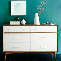 Mid-Century 6-Drawer Dresser  - White + Acorn #westelm Any chance I could recreate this for a lot less money?