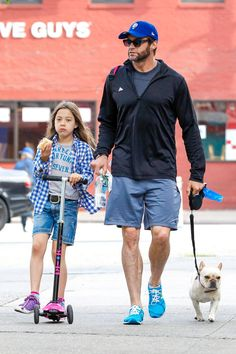 Hugh Jackman takes daughter Ava to school with their dog