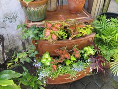 If you have old furniture or other junk, you might want to recycle it into a fairytale garden like these.
