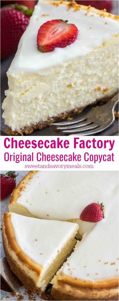 Ditch the takeout and make this Cheesecake Factory Original Cheesecake Copycat Recipe so you can make it at home anytime you crave it! This is a luxurious and creamy cheesecake with a graham crust and sour cream topping. The Cheesecake Factory, Cheesecake Crust, Homemade Cheesecake, Pumpkin Cheesecake, Cheesecake Recipes, Dessert Recipes, Creamy Cheesecake Recipe, Cheesecake Toppings, Cream Cake