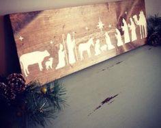 Rustic Wooden Nativity Sign Christmas Decor by DaisywoodDesign