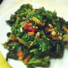 Sauteed Kale, Heirloom Tomato, Pistachios and Garlic