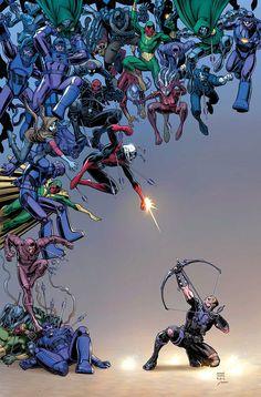 Hawkeye vs. the Descendents ~ art by Art Adams