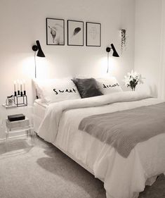 Makuuhuoneen mustavalkoinen sisustus - The black and white style of the bedroom