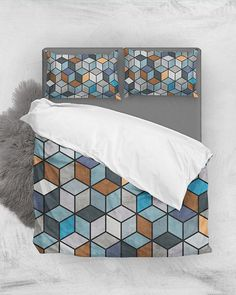 Colorful Concrete Cubes - Blue, Gray, Brown // Duvet Cover + Pillow Shams by Zoltan Ratko // This pattern design is also available as a wall art, apparel, tech and home product. King Bedding Sets, Grey Bedding, Linen Bedding, Bed Linens, Pillow Shams, Pillow Covers, Bed Pillows, Hexagon Pattern, Pattern Design