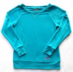 Womens Size S Under Armour Semi-Fitted Sweatshirt, Teal Blue, Boat Neck, VGC $18.99