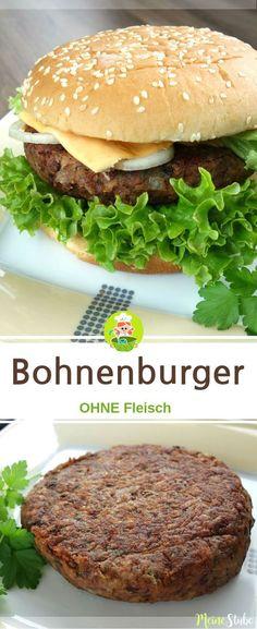 Bohnenburger ohne Fleisch. Mit Salat, Zwiebeln und Käse belegt. #rezept #bohnen #burger
