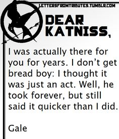This is kinda sad, but true. I still didn't think Gale was right for her though. They were too alike.