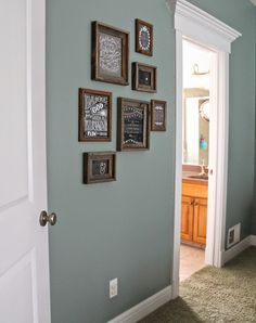 paint color: Valspar Blue Arrow dark rustic frames, Hobby Lobby - Home Decorating Magazines Hallway Paint Colors, Bedroom Paint Colors, Paint Colors For Living Room, Paint Colors For Home, House Colors, Rustic Paint Colors, Wall Colors, Boys Room Paint Ideas, Office Paint Colors