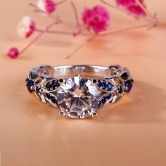 Jeulia Butterfly Round Cut Created White Sapphire with Sapphire Sidestone Engagement Ring 2.53CT TW - Jeulia Jewelry