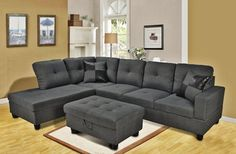 Sectional Sofa with Ottoman 3 Seated Left Facing L Shaped in Dark Grey Furniture #EternityHome #Modern