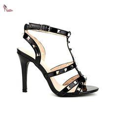 Cendriyon, Sandale Black STEPHAN Clous Chaussures Femme Taille 37 - Chaussures cendriyon (*Partner-Link)