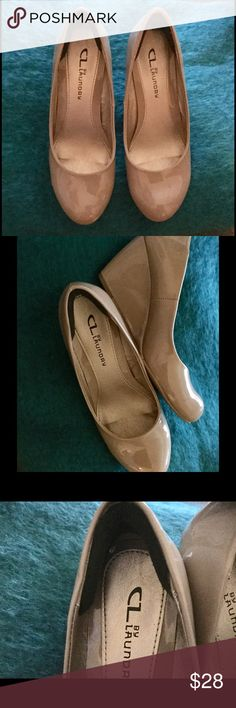 CL by Laundry Taupe Wedges Taupe patent leather wedges for work or play! Gently used, barely worn. Heel huggers added for supreme comfort and protection! CL by Laundry Shoes Wedges