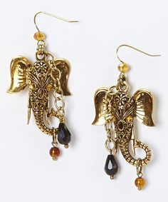 Gold Elephant Drop Earrings