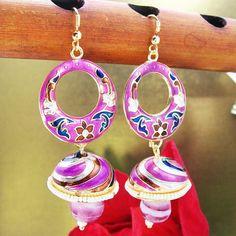 Meenakari Tokri with Mini Danglers Copper Pink