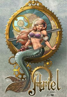 Steampunk Ariel drawn by sorah-suhng. What I liked about this piece is, the steampunk is subtle. Ariel Disney, Disney Princess Art, Princesa Disney, Disney Nerd, Disney Fan Art, Disney Love, Disney Magic, Ariel Color, Costume Steampunk