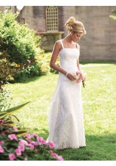 Etui-Linie aus Tüll Carré-Ausschnitt Bodenlang Reißverschluss Weiße schlichte Brautkleider standesamt #USARS035