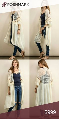 Gorgeous Long lace fringe wrap duster kimono Ivory  Sorry, NO TRADES  Price firm unless bundled   Save money and bundle! Save 10 percent on any bundle of 2 or more items! Sofi + Sebastien  Sweaters