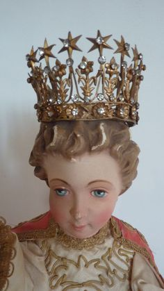 Adorable antique French diminutive ormolu jeweled display crown  stars sold 299.00