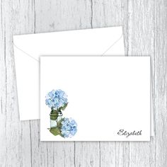 Blue Hydrangeas Personalized Note Cards #personalizedstationery #flowernotecards Personalized Note Cards, Personalized Stationery, Blue Hydrangea, Hydrangeas, Matte Medium, Small Letters, White Envelopes, Holiday Gifts, Card Stock