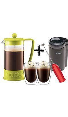 Café para conocedores (Prensa de 34oz, Tazas Pavina de 12oz, Molino y espumador de leche)  Este Paquete lo tiene todo para que te hagas tu café a tu gusto, ya sea normal o con leche, como capuchino o latte, listo para que lo sirvas en las novedosas tazas Pavina de doble cristal, atrevete a experimentar el café de la mejor forma. Inlcuye: 1 prensa de 34oz, 2 tazas Pavina de 12 oz, Molino Cuisinart y Espumador Electrico de Leche)  #cafe #prensa #molino #fresco #delola #lola
