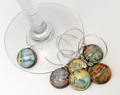 Custom Map Wine Charms / Bridal shower gift / gift for travelor / anniversery gift / Honeymoon Gift / Wine Charm Gifts  / gift for her / map by theblueprint. Explore more products on http://theblueprint.etsy.com