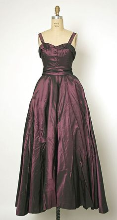 "Ball Gown, Christian Dior (French, 1905–1957) for the House of Dior (French, founded 1947): 1951, French, silk/cotton/synthetic.    Marking: [label] (a) ""Christian Dior / PARIS / MADE IN FRANCE / 07410"""