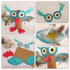 Knutselen met veertjes. Uiltjes knutselen. Vogeltjes knutselen. http://kinderknutseltips.nl/knutselen-met-veertjes-uil-of-vogel-knutseltip/