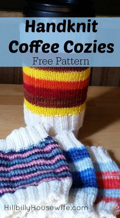 Easy Coffee Cozies Knitting Pattern - Hillbilly Housewife Disclosure: Some of the links below are affilate links, meaning, at no additional cost to you, I wi Knitting Socks, Loom Knitting, Knitting Patterns Free, Free Knitting, Free Pattern, Loom Patterns, Stitch Patterns, Charity Knitting, Crochet Socks