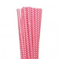 Canudos de Papel Zig Zag Rosa Pink 25 uni