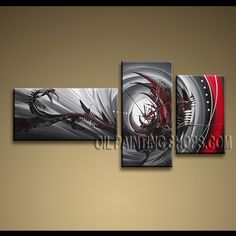 Primitive Modern Abstract Painting High Quality Oil Painting For Living Room Abstract. This 3 panels canvas wall art is hand painted by A.Qiang, instock - $136. To see more, visit OilPaintingShops.com