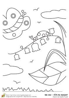 Coloriage de brins de muguet du 1er mai au printemps Illustration, Bullet Journal, Symbols, Letters, Camille, Art, Spring, Coloring Pages, Birthday