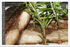 Filetto di Ricciola al Rosmarino su crema di Melanzane affumicate