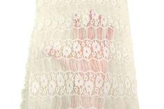 Cream Floral Stretch Lace Fabric by the Yard by felinusfabrics