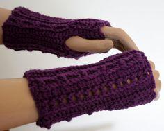 Purple Crochet Fingerless Gloves by SweetNothingsStitch on Etsy, $8.00