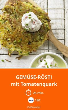 Gemüse-Rösti - mit Tomatenquark - smarter - Kalorien: 180 Kcal - Zeit: 25 Min. | eatsmarter.de