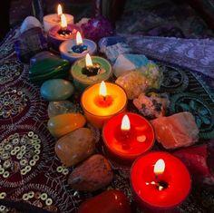 Chakra meditation with 7 Chakra tealight set