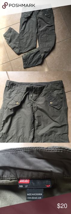 Diesel army green cargo skinny pants Fab olive green utility-style pants by Diesel. So many good details. Size 27, great condition. Diesel Pants