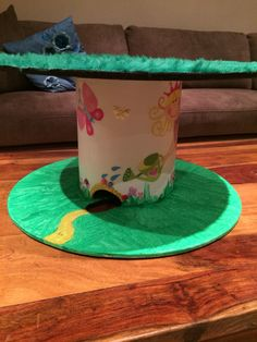 Girls fairy land: grass and chalk board cable reel