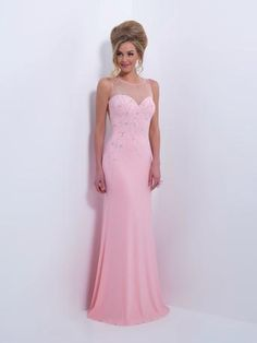 This beautiful gown is sure to make heads turn in either this beautiful blush or perfect pool colors, shop at Estelle's Dressy Dresses!  Black by Blush - C163