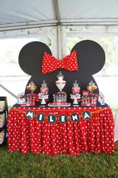 "Remember watching ""A Mickey Mouse Cartoon"" and wishing your were Minnie Mouse for at least a day? You won't regret a Minnie Mouse quinceanera theme! Minnie Mouse Party, Minnie Mouse 1st Birthday, Minnie Mouse Baby Shower, Mickey Party, 2nd Birthday, Minnie Mouse Table, Pirate Party, Minnie Mouse Candy Bar, Minnie Mouse Birthday Decorations"