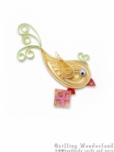 Happy Bird-day card - Birthday quilled card pastel paper quilling