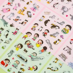 6 sheet Beautiful cat transparent diary calendar photo album envelope stickers