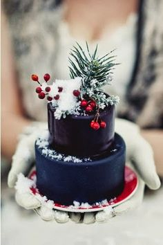 mini black two tier cake....