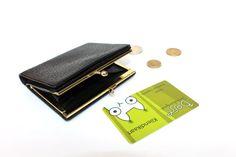 Black Wallet Unisex Wallet Retro Pocket Wallet Coin Purse with Kiss Lock, Kiss Lock Wallet, Small black wallet