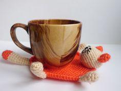 Crochet Coaster cat Amigurumi cat Cups Crochet by FunnyAmiToys